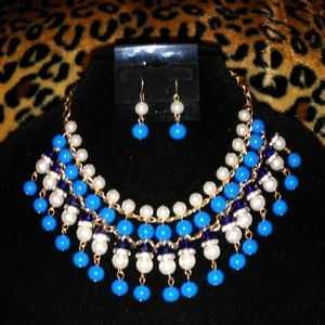 Blue White Pearl Waterfall Necklace